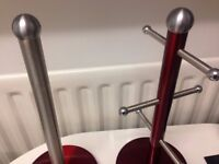 mettallic red and stainless steel mug tree and kitchen roll holder