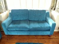Teal double sofa and two armchairs - Chrome feet, good condition, pet free smoke free home