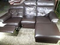 FREE DELIVERY! Electric recliner brown leather corner sofa