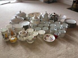 Job Lot Assorted Mismatched Vintage Crockery China Tea Set - 60 pieces approx