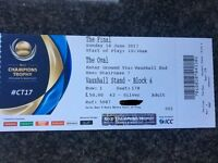 1 x Icc India v Pakistan ticket. Silver.