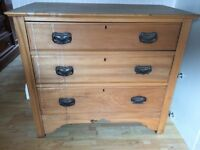 OLD CHEST WITH 3 LARGE DRAWERS IDEAL FOR UP CYCLING