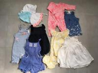 Girls mixed bundle 3-6 months dresses dungarees sun hats