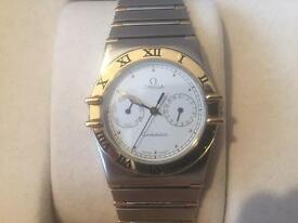 GENTS MENS RARE OMEGA CONSTELLATION REAL 18k SOLID GOLD & STAINLESS - CHRONOMETER UNISEX WATCH