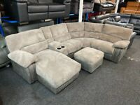 NEW - EX DISPLAY LAZYBOY ARLINGTON GREY CHAISE RECLINER CORNER SOFA + MEDIA + FOOTSTOOL 70%Off RR