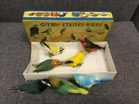 Rare vintage retro 60s STUFFED COTTON BIRDS COMPLETE IN BOX Decoration Design made in Hong Kong SDHC
