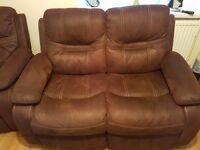 Brown suede 2 seater sofa and arm chairs