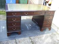 A large antique reproduction mahogany pedestal desk 5ft (152cm) wide approx.