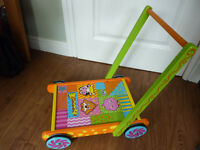 Lovely Wooden Baby Walker with Building Bricks