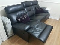 3 and 2 Sofa - Seater Recliner!!! Black Leather