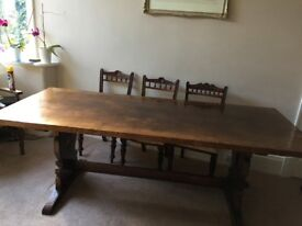 Titchnarsh and Goodwin solid oak table in vgc. Size 7ft by 3ft.
