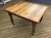 Authentic Victorian solid wood dining table on castors