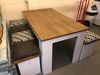 Oak Table and Stools For Sale with Cushions