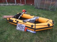 Inflatable Boat 2.3 m., Outboard Engine Motor, Car Roof Bars Plus Extras