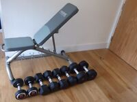 York Professional Adjustable Weight Bench With 70 KG Rubber Pro Dumbbells