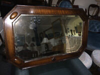 Charming Antique Large Octagon Shaped Oak Frame Bevelled Mirror W/Decorative Accents