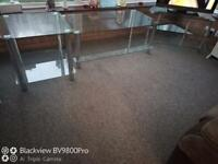 Set of three glass table/tv stand