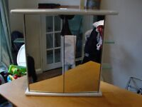Mirrored Bathroom Cabinet/ Cupboard with LIGHTS & GLASS SHELVES
