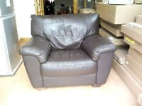 Brown soft leather chunky armchair in very good condition