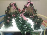 """FOUR (4) GREEN """"CHRISTMAS"""" GARLANDS"""
