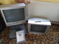 FREE 2 TV'S PANASONIC AND TOSHIBA OLD STYLE BUT BOTH WORK COLOUR