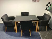 Black granite table With wooden legs