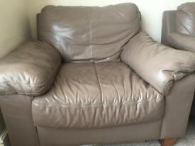 Leather settee 2 x two seater and arm chair and foot stall