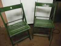 2 FOLDING WOOD GARDEN CHAIRS
