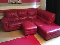 Large red sofa with pouffe (with storage)