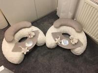 Mumas and papas sit and play inflatable seats.