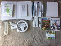 Nintendo Wii Console, Wii fit with balance board and Wii Wheel