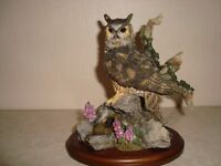 """Country Artists hand made/painted bird """"Great Horned Owl with Foxgloves"""". No damage."""