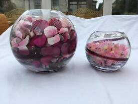 Decorative floral vases with candles x 2