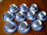 Nine Spodes Fitzhugh (Copeland New Stone) Blue Coffee Cups and Saucers