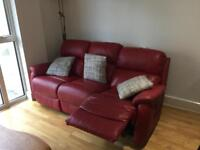 Red leather electric recliner sofa, 3 seats. In very good condition