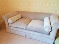 2 seater chesterfield style sofa in beige chenille