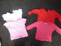 bundle of girls four tops aged 3-6 months