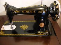 Vintage 1937 Singer 15K80 sewing machine in cabinet