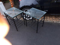 PAIR OF MODERNIST VINTAGE RETRO KITSCH SIDE TABLES METAL & GLASS IN YEOVIL
