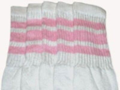"""22"""" KNEE HIGH WHITE tube socks with BABY PINK stripes style 1 (22-49) ](Tube Socks With Stripes)"""