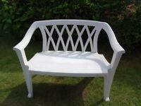 White plastic 2 Seater Bench and two White Plastic Lawn Chairs