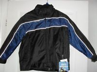 CHILD'S WATERPROOF BIKER JACKET - NEW TAGS ATTACHED WITH PROTECTION, HI VIZ STRIPS