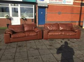 REAL LEATHER SOFA SET 3+2 seater used Retro