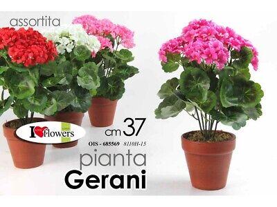 FIORI PIANTA PIANTINE ARTIFICIALI PIANTINA GERANI GERANIO CM. 37 ASSORTITA PZ. 1