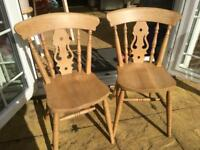 Pair of solid beech fiddleback chairs