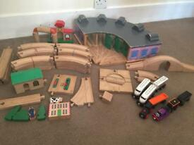 Huge lot of wooden train tracks over 75 pieces Brio & others