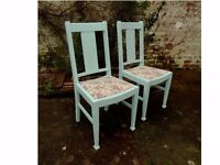 shabby chic dining chairs, upcycled with love, re-upholstered
