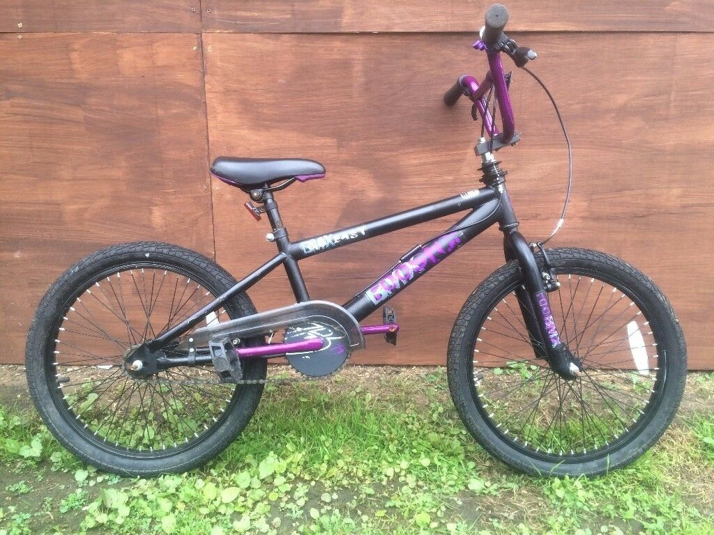 "Booster go easy child's 20"" black & purple BMX bike bicycle"