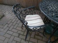 patio table and chairs c/w cushions and parasol