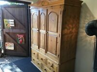 Large Vintage Style Solid Pine Full Hanging Double Wardrobe with 5 Draws